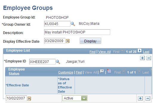 Setting Up PeopleSoft IT Asset Management Resource Settings Chapter 5 Employee Groups page Group Owner Id A required field, select the individual designated as the owner of this group.
