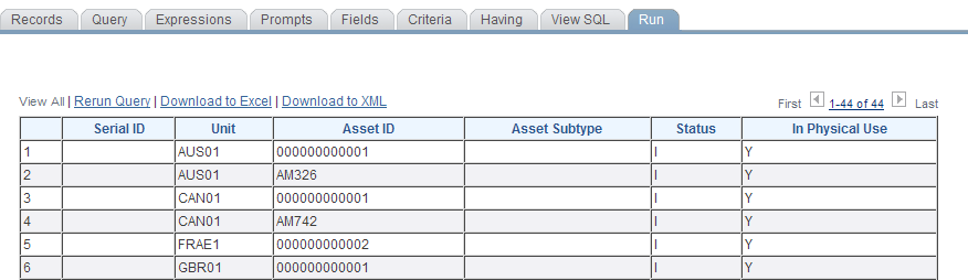 Working with the Asset Repository Chapter 6 AM_IT_ASSETS_SERIAL_ID query AM_IT_ASSETS_SERIAL_ID query result set In addition to the alert provided on the Manage Exceptions page for duplicate serial