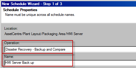 Configure Remote Computer Disaster Recovery Schedule Rockwell Automation recommends configuring an HMI server for a Backup only schedule, or restricting the files compared in a Backup and Compare