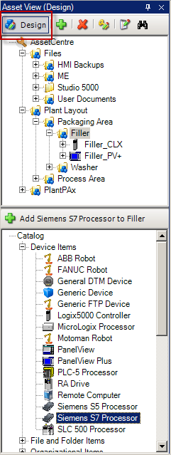 Create a Siemens S7 Asset This section of the lab will walk through the steps necessary to add a Siemens S7 Processor to the FactoryTalk AssetCentre asset tree, and configure its properties. 1.