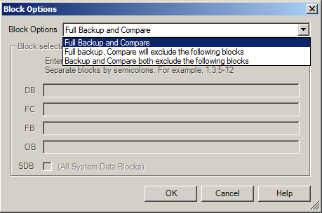 5. The Block Options dialog will be displayed.