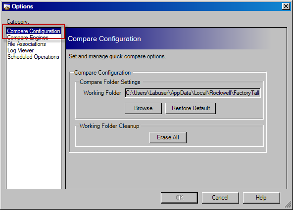 4. Click Compare Configuration This dialog can be used to select the folder in which to store any items being compared, and also to clear said folder when comparisons are complete.
