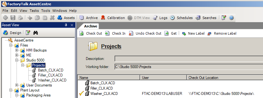 Verify the file is checked-out in FactoryTalk AssetCentre 1. Switch back to FactoryTalk AssetCentre, in the asset tree, expand the tree to AssetCentre Files Studio 5000 Projects 2.