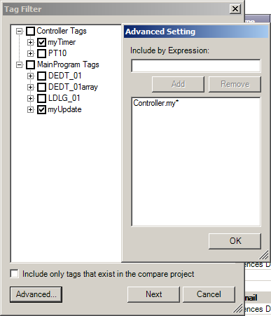 8. Expand MainProgram Tags and select MyUpdate 9. Click the Advanced button 10. Type Controller.