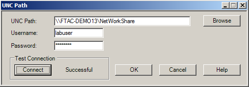 3. Name the Remote Computer NetWorkShare 4. Highlight the Addressing Info property and then click the button. 5. Click the Browse button for the UNC Path and navigate to the following, click OK.