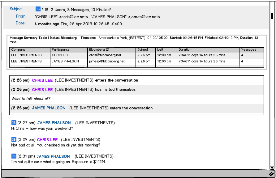 Viewing Bloomberg Messaging WIthin Global Relay Archive Instant Bloomberg Messages are shown as threaded conversations within Global Relay Archive, along with a handy Message Summary Table showing