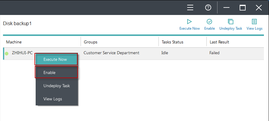 Start Deploying With clients added, groups created and backup tasks built, it will be then a very easy process to connect the clients/groups with backup tasks.