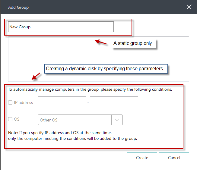 User can create a new group by just assigning a group name, then it will be a static group, all clients can be added to a static group without any limitation.