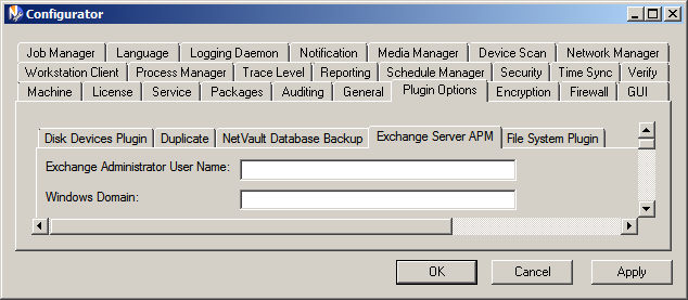 46 Chapter 5 Configuring Exchange Server APM Figure 5-4: Exchange Server APM default configuration options in NVBU Configurator 4.