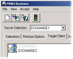 NetVault: Backup 97 APM for Exchange Server User s Guide Figure 7-24: Target Client tab with the new target machine selected recovered as a standard restore of this type.