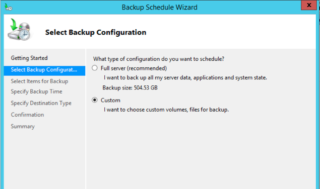 Choose Backup Schedule on the right area of the window.