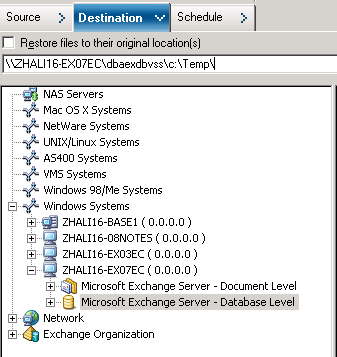 Selecting Database Restore Sources and Destinations 4. Enter path to the file system directory, for example c:\temp.