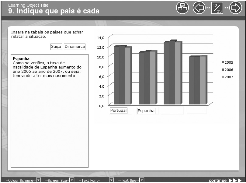 164 Pedro Reis & Isabel Damião Figure 2 Screenshots of e-content of Portuguese for Foreigners developed with Xerte Those who write lots of code will be able to develop powerful components and even