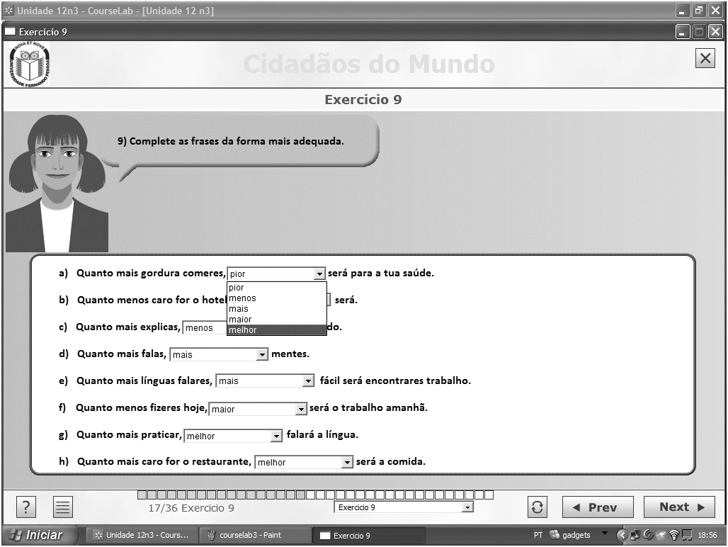 Freeware authoring tools for the creation of e-content Current experience 165 Figure 3 Screenshot of e-content of Portuguese for Foreigners developed with CourseLab Import PowerPoint presentations