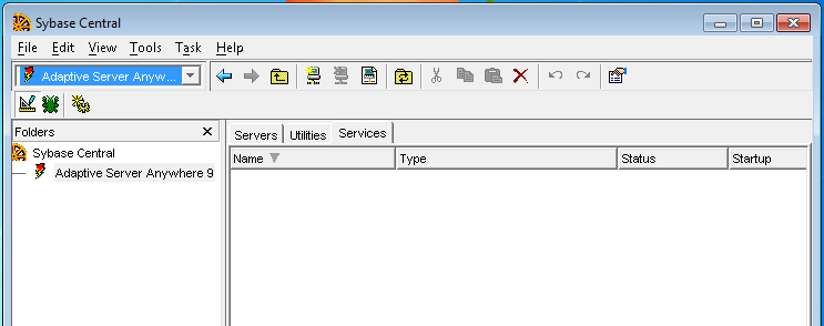 Configuring Sybase 9.0 Services 1. Double Click on Sybase Central or SQL Central icon on the desktop. 2. Double Click on Adaptive Server Anywhere 9. 3. Select the Services Tab. 4.