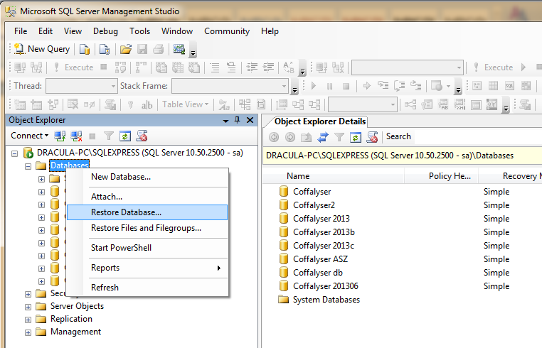 2.2 Restore Database In the management studio (Localhost - Database - System