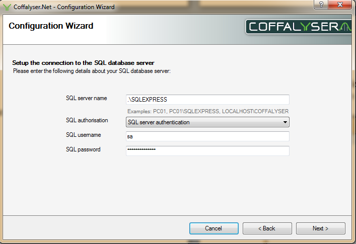 We are configuring a restored database running on a server that was not pre-configured for Coffalyser.