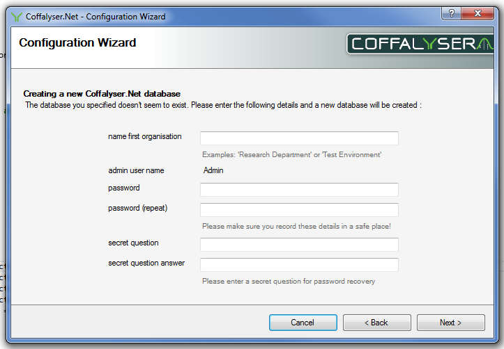 3.6 Creating a new database If you are using an existing database you can continue to the next step. The Coffalyser.