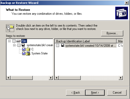 Bare Metal Recovery 5. Because the NTBackup utility does not have a catalog for the SystemState.bkf file, import the file by using the Restore Wizard: a. Select Tools > Restore Wizard.