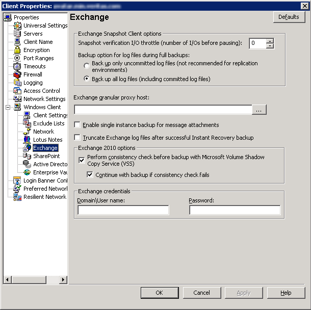 Configuring Exchange client host properties Configuring Exchange client host properties 31 To configure Exchange client host properties 1 Open the NetBackup Administration Console or the Remote