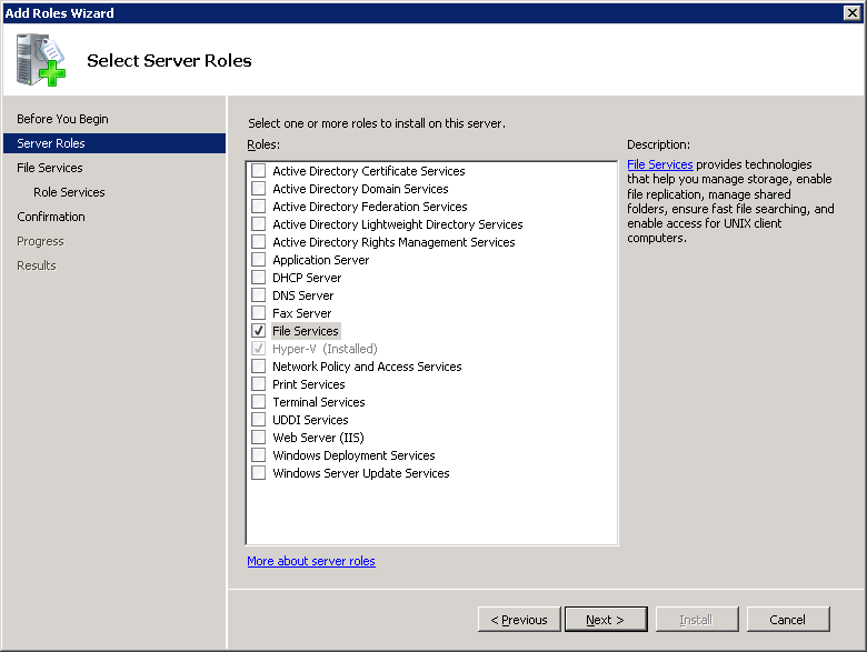 Configuring Exchange Granular Recovery (Exchange 2010 and earlier) About installing and configuring Network File System (NFS) for Exchange Granular Recovery 74 4 On the Select Server Roles page,