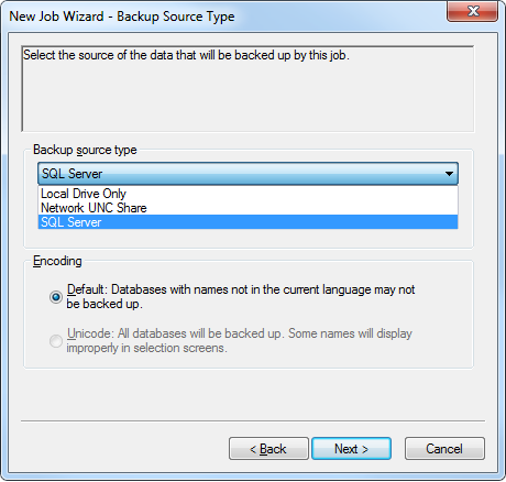 3.2 Creating a Backup Job with Windows CentralControl To back up SQL databases, you can create and run a backup job using Windows CentralControl. 1.