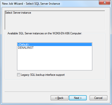 7. Select an SQL Server Instance. You are provided with a list of the available instances for the client installed. 8. The list begins with an entry named <Default>, designating the default instance.
