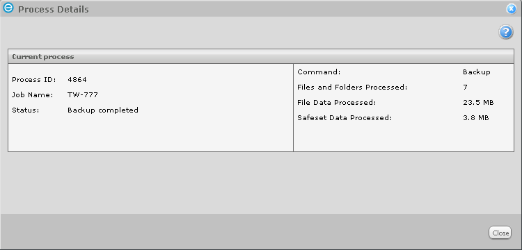 4. When you click Start Backup, the Process details will be displayed which you can monitor as the backup progresses.