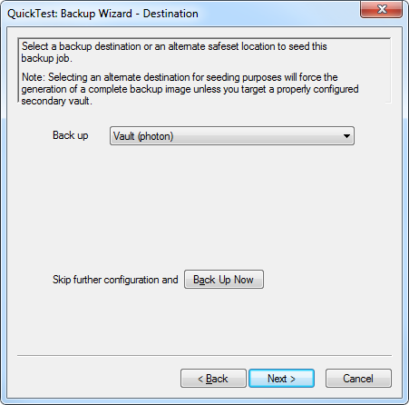 3.4 Running an Ad Hoc Backup Job Windows CentralControl 1. Select a Job to run, right click and select Backup, or click the Backup icon. The Backup Wizard Welcome screen will launch. Click Next. 2.