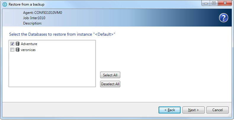 4.5 Restore to flat files using Windows CentralControl 1. Select Restore to flat files. Click Next. 2.