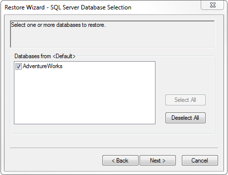 3. Select one or more databases to restore.