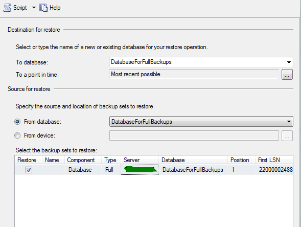 Chapter 4: Restoring From Full Backup The Restore Database window appears, with some options auto-populated.