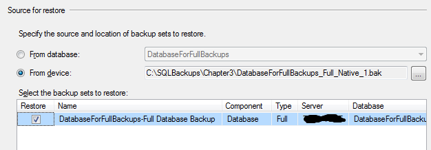 Chapter 4: Restoring From Full Backup We are not going to be using this pre-populated form, but will instead configure the restore process by hand, so that we restore our first full backup file.