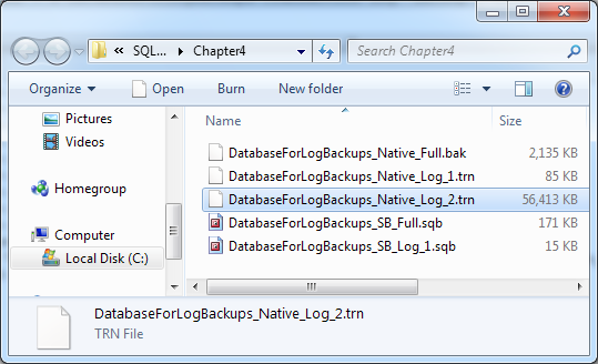 Chapter 5: Log Backups Figure 5-9: Successful transaction log backup message. Notice that this log backup took about 3.