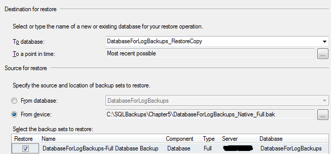 Chapter 6: Log Restores However, if the backup files have been moved to a new location, we'd need to manually locate each of the required files for the restore process, and perform the restore