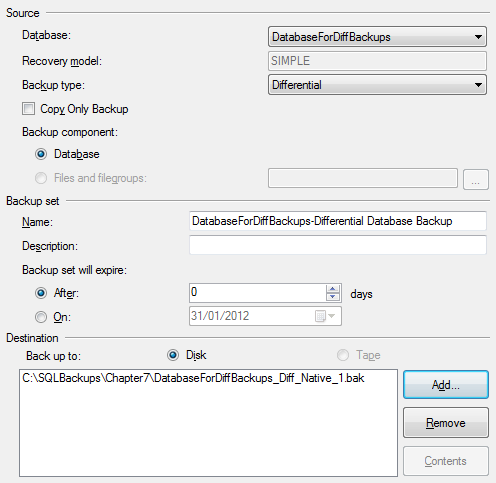 Chapter 7: Differential Backup and Restore Figure 7-3: Native GUI differential backup configuration. There's nothing to change on the Options page, so we're done.