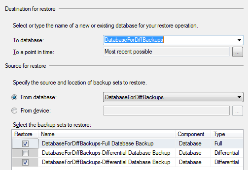 Chapter 7: Differential Backup and Restore Performing Differential Backup Restores We are now ready to perform a RESTORE on each of our differential backup files, once using the SSMS GUI, and once