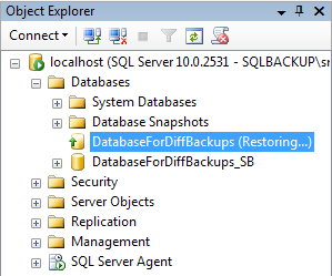 Chapter 7: Differential Backup and Restore Figure 7-9: The DatabaseForDiffBackups database in restoring mode.
