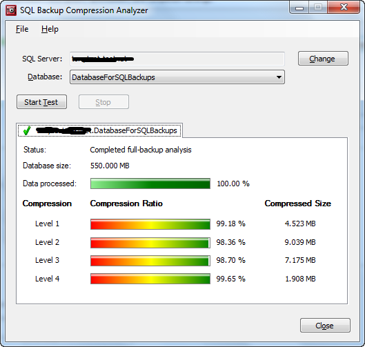 Chapter 8: Database Backup and Restore with SQL Backup Pro Figure 8-4: SQL Backup Compression Analyzer.