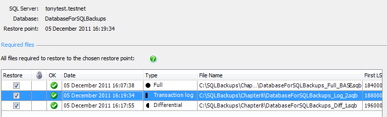 Chapter 8: Database Backup and Restore with SQL Backup Pro Figure 8-17: Identifying the required files for the restore process.