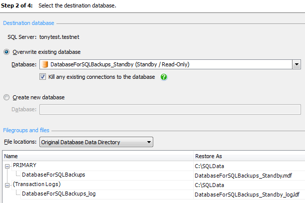 Chapter 8: Database Backup and Restore with SQL Backup Pro Figure 8-27: Overwriting the current standby database.