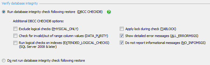 Chapter 8: Database Backup and Restore with SQL Backup Pro Nevertheless, these validity checks do provide some degree of reassurance, without the need to perform full test restores.