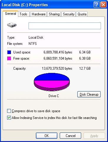 In this example of My Computer, the disks and folders are displayed as large icons. You can switch the type of display using the VIEWS button on the menu bar.