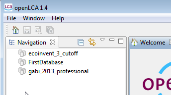openlca 1.4 Figure 21: Database import in openlca 1.4 in the import wizard The database will then be imported and be available as one new, additional database in openlca.