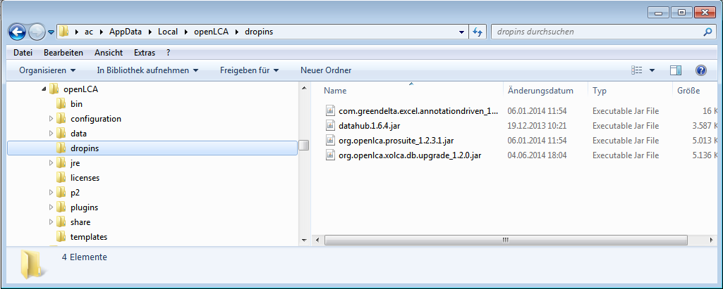 Figure 23: Dropins folder where the plugins are located Then, restart openlca and the plugin will be extracted and can be used afterwards.