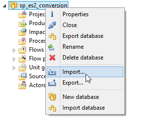 Create a local database with the option Complete reference data (we need the reference data for mapping flows, units etc.