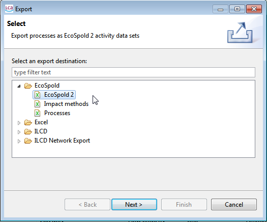 Figure 31: Exporting the processes In the export wizard, select EcoSpold 2 as export option: