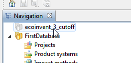 Figure 7: downloading the ecoinvent cut-off database from nexus In order to import the database, select import database from the context menu.. and then select the respective zolca file.