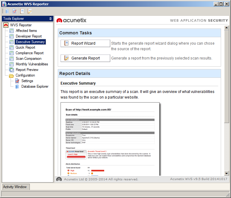 Generating Reports Screenshot The Reporter Application The Acunetix Web Vulnerability Scanner Reporter is a standalone application that allows you to generate reports for the security scans performed