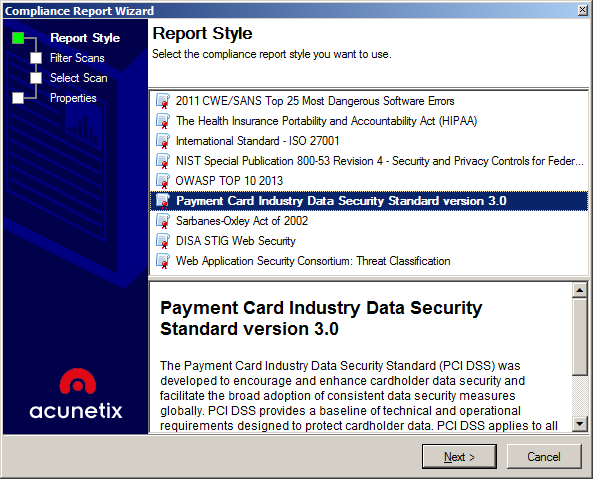 Screenshot Select Compliance Report 3.